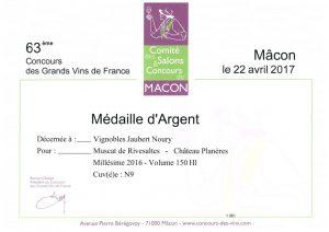 ARGENT MUSCAT 2016 MACON 2017